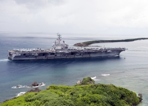 110821-N-AZ907-015 APRA HARBOR, Guam (Aug. 21, 2011) The aircraft carrier USS Ronald Reagan (CVN 76) enters Apra Harbor for a scheduled port visit. (U.S. Navy photo by Mass Communication Specialist 1st Class (SW) Peter Lewis/Released)