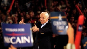 Sen. John McCain, the Republican candidate for president in 2008, greets supporters at a rally in Prescott, Arizona, on the day before the general election. MUST CREDIT: Washington Post photo by Melina Mara